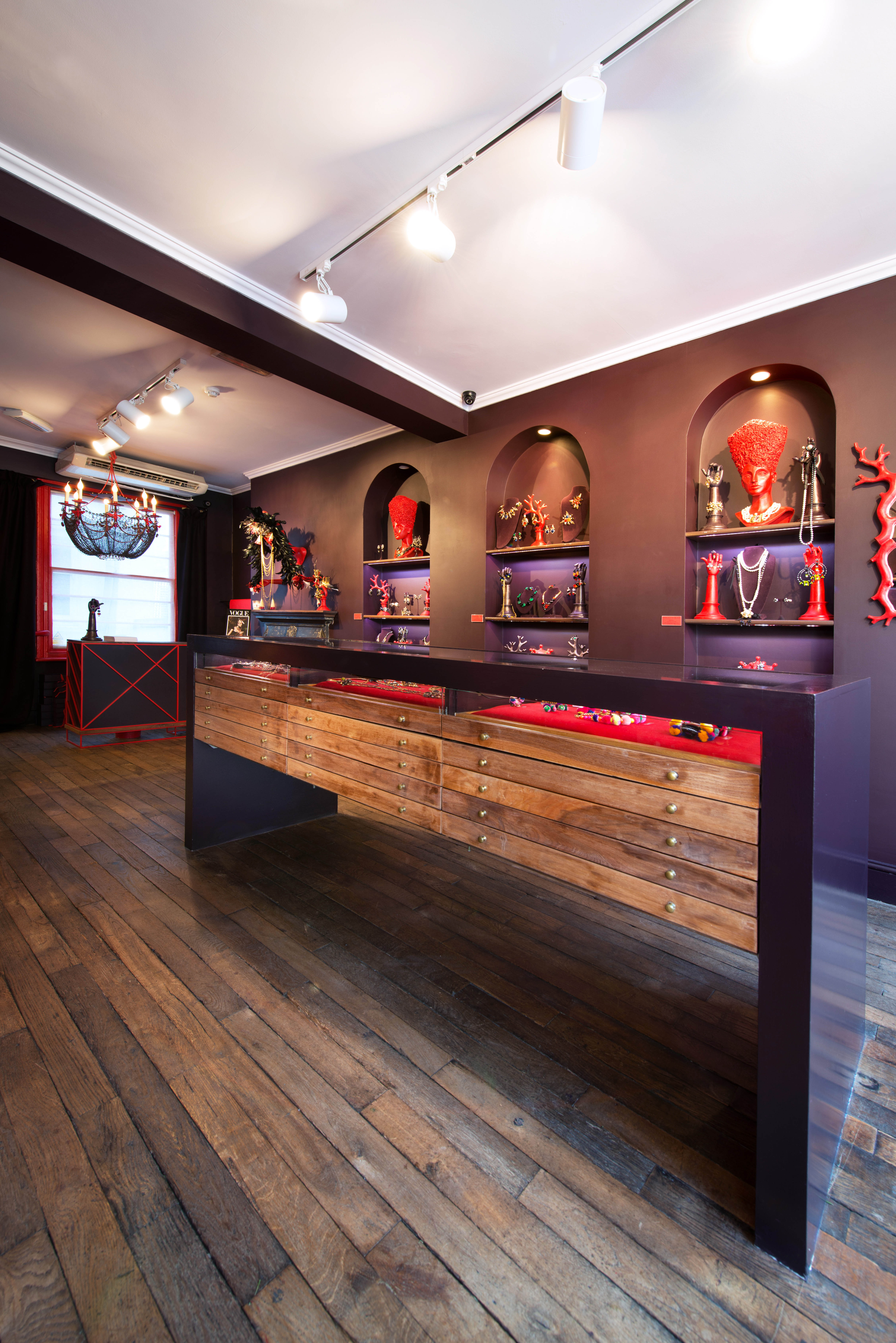 Vicki Sarge shop counter: interior shot.